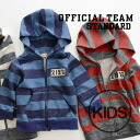 Logo on badge, amecasitayst Hooded Zip up parka. Boys and girls alike! kids clothing long-sleeved 100% cotton cotton junior Kids sweat back hair OT-14AW-401 ◆ Official Team (official team): wide Bader No. emblem sweat parka [kids]