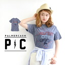 With full of a feeling of ユーズド eat it, and, to material, stop Thailand along the body like an adult; silhouette short sleeves T-shirt cut-and-sew import U.S.A tops print ◆ PalmerCash (Palmer cash) logo T-shirt