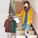The long shirt of the tunic that it is easy to use for a haori and an inner in the silhouette which is checked pattern ♪ Shin pull of 2 coloration that are not too casual! Lady's long sleeves ◆ Zootie (zoo tea): Tartan check long shirt-dress