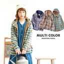 Nordic pattern of colorful long-sleeved jumper! Switching and call heaven material accent! Women's outerwear short coat jacket border geometry winter knit brushed ◆ brushed corduroy folklore switching mountain parka