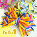 Hair accessories to broach! with a colorful stripe tape, Ribbon-shaped accessories! Women children kids girls hairpin here range ornament bag axe border 7245-0002 ◆ fafa (fe'ee):AEMILIA Ribbon hair clip [A]