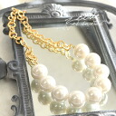 Spicy gold chain x and large faux Pearl sweet and cool 大buri necklace accessories parkers big part Pearl Necklace party wedding parties 3 dress ◆ Zootie ( SETI ): pure ball gold chain necklace