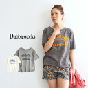 Flocking printed items by artisans 1 piece 1 piece hand to moderate with plenty of body. Cute DW-FBT001 ladies tops cotton 100% cotton short sleeve shirt logo Tee so-called ◆ DUBBLE WORKS (double works) football sacruhem T shirt