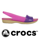 Milky TPU materials designed by color, sandals mules low heel strap peep toe women's women's women's Beach Sandals spring spring summer 200032 ◆ crocs (crocs) ColorBlock flat w