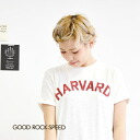 Patch pocket with College t-shirt simply topped with prestigious University Harvard University logo,. A slightly Slavic tenjiku material ladies Short Sleeve Tops sewn spring spring summer summer cotton ◆ GOOD ROCK SPEED (speed good look) HARVARD t-shirt