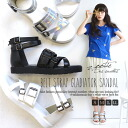 From S to LL! Comfort sandals with Gladiator Sandals jidkodri! in a thick-bottomed imadoki! Women's shoes high cut pettanko pettanko shoes silver black and white summer ◆ zootie (SETI): belt strap Gladiator sandal