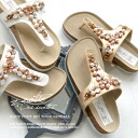 Tongs sandals in gold and silver ornate with Bijou. Women's shoes shoes footbed Sandals comfort Sandals pettanko pettanko shoes Beach sandal summer ◆ zootie (SETI): Bijou & faux Pearl shiny tongue sandals