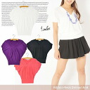 Ribbon neck short sleeves dolman knit spring