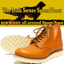 """REDWING Red Wing IRISH SETTER Irish setter boots classical 6 """"ROUND TOE GOLD-RUSSET Golda set and Sequoia reprint dog tag Style No.9871"""