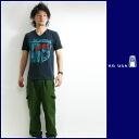 KU 빈 クウリサイクルコットン V 넥 반 팔 프린트 티셔츠 「 OIKOS 」