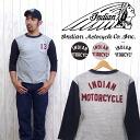 인디언 모터 사이클 Indian Motorcycle 7분 소매 T셔츠 2 톤 헝겊 「13」