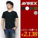 AVIREX アビレックス アヴィレックス V 넥 반 소매 T 셔츠 데일리 웨어 시리즈 6143501