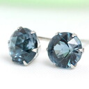 Platinum 900 rose cut London Blue Topaz 6.0 mm earrings