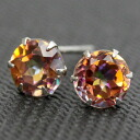 Platinum 900 ecstasy topaz 5.0mm pierced earrings