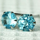 Platinum 900 Blue Topaz Earrings 4.0 mm