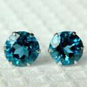 Platinum 900 London blue topaz 6.0mm pierced earrings