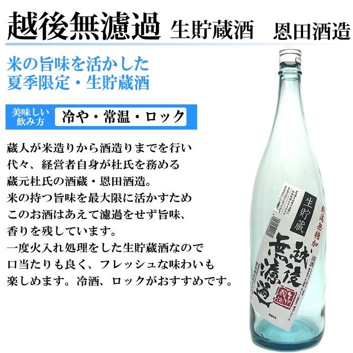 日本酒 越後無濾過生貯蔵酒