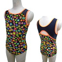 Made in Japan design now sleeve Leotard * colorful cube 140 / 150 cm [children's Leotard kids junior sleeveless sleeveless open cot glossy rhythmic gymnastics practice for competition for]