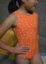 Made in Japan now sleeve Leotard * Orange star 120 / 130 cm [children's Leotard kids junior sleeveless open cot glossy rhythmic gymnastics practice]