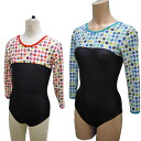 Three-quarter sleeves switching design leotards * pop NDT * 140_150 cm * click Leotard-adult child