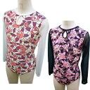 NEW! Long sleeve design leotards * rose Princess S size Japan-click Leotard-adult child