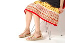 Real leather suede cloth floral design embroidery sandals ★ overseas stocking ★ beige★