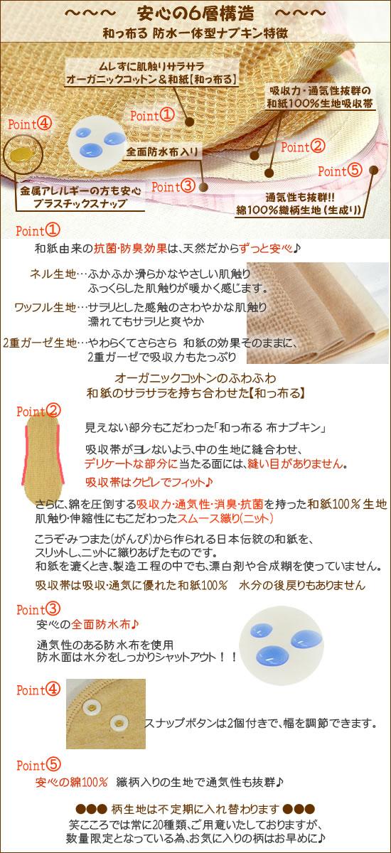 【和っ布る 布ナプキン】一体型タイプ特徴