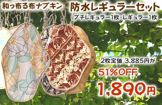 和っ布る 布ナプキン防水一体型レギュラーセット■DM便送料無料■