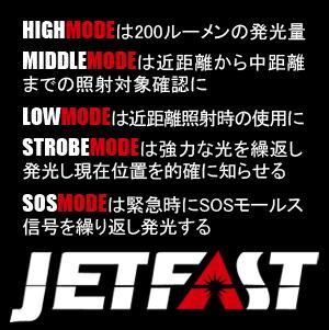 ジェットファーストは5段階の照射モードが選択可能です。