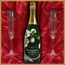 Premium gift Riedel series name put the shimpan glass & Perrier-jouet Belle Epoque Blanc 750 ml gift set