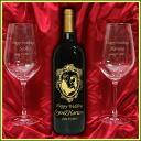 Wedding name put the sculpture gold medal winning wine & name put the sculpture pair glasses set 02P04Jan15