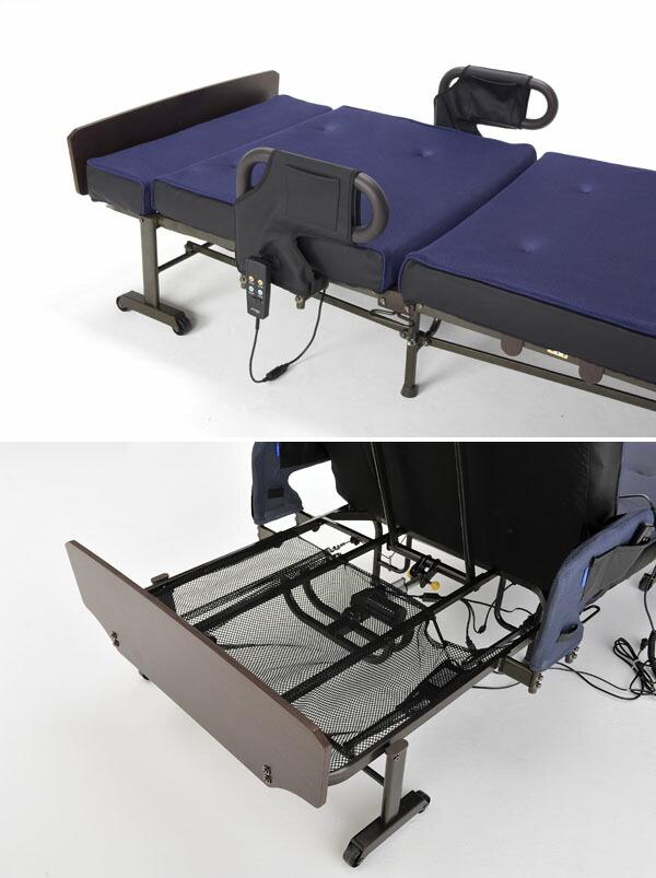 収納式電動リクライニングベッド(Wファンクション) AX-BE672