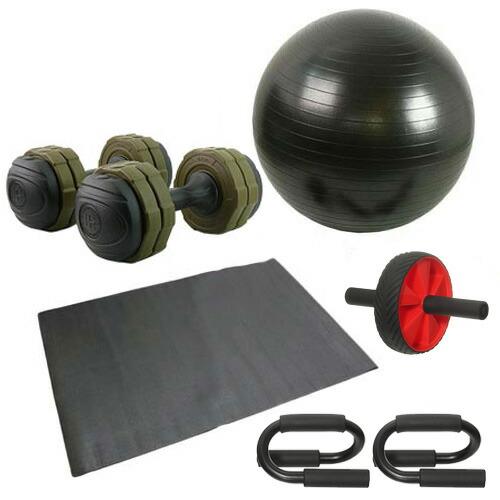 バランスボール 筋トレ 6点セット プッシュアップバー 腹筋ローラー アーミーダンベル7kg2個 グリーン マット付き