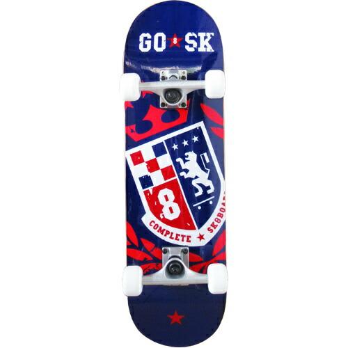 ゴ―スケート(GOSK8) コンプリート ショート スケボー ネイビーレッド GOSK8-28W