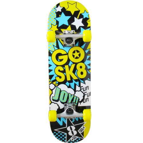 ゴ―スケート(GOSK8) コンプリート ショート スケボー イエローブルー GOSK8-28Z