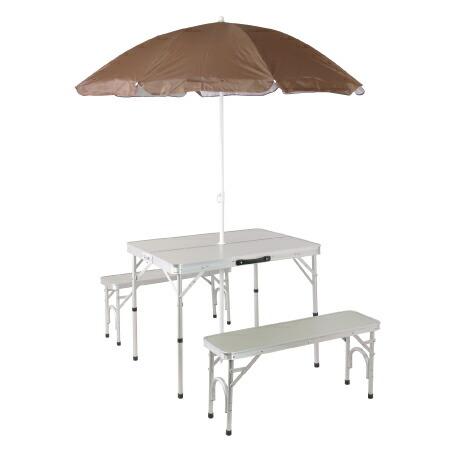 パラソル付き 折りたたみ テーブルセット アウトドア アルミ ピクニック チェアセット シルバー ALPT-90P