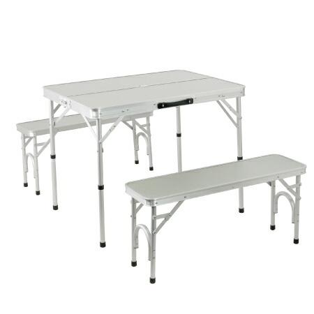 折りたたみ テーブルセット チェア付き アウトドア アルミ ピクニック シルバー ALPT-90