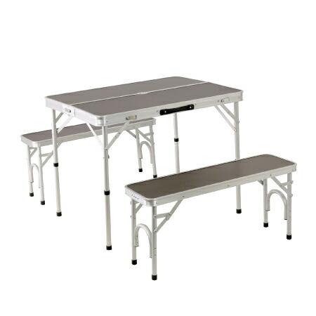 折りたたみ テーブルセット チェア付き アウトドア アルミ ピクニック モダンブラウン ALPT-90