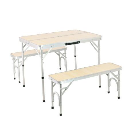 折りたたみ テーブルセット チェア付 アウトドア アルミ ピクニック ナチュラル ALPT-90