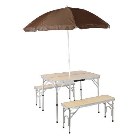 パラソル付き 折りたたみ テーブルセット アウトドア アルミ ピクニック チェアセット ナチュラル ALPT-90P