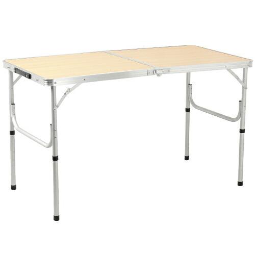 折りたたみ テーブル 120×60cm アウトドア イベント用 ナチュラル AL2FT-120