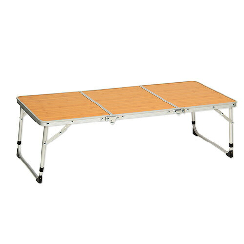 折りたたみ アルミミニテーブル バンブー柄 90×40cm ピクニックテーブル QC-3FT90