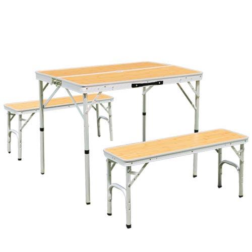 折りたたみ テーブルセット チェア付き アウトドア アルミ ピクニック バンブー ALPT-90