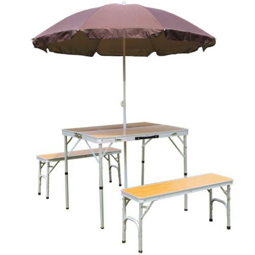 パラソル付き 折りたたみ テーブルセット アウトドア アルミ ピクニック チェアセット バンブー ALPT-90P