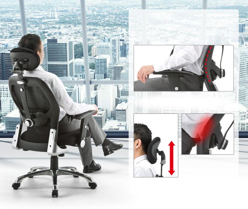 メッシュチェア(EEX-CH9)に座りながら窓の外を眺める人