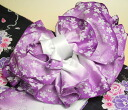It is one-touch wearing in an obi purple ribbon flower end volume zone yukata zone made with high-quality eight sun stack end zone small cherry tree lam shading off, newly made!