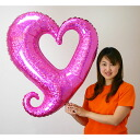Heart balloon chain of heart (holographic pink)