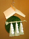 Cedar ball 30 centimeters in diameter unvarnished wood shade Shinto straw festoon set [nationwide]