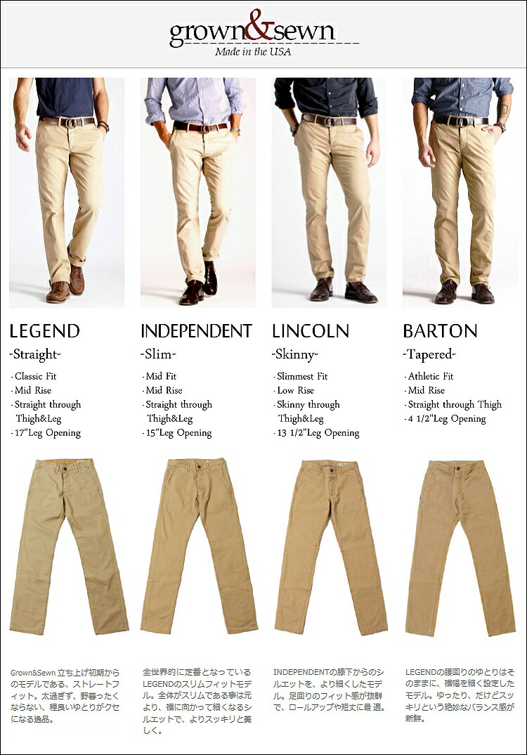 grown&sewn,基本モデル