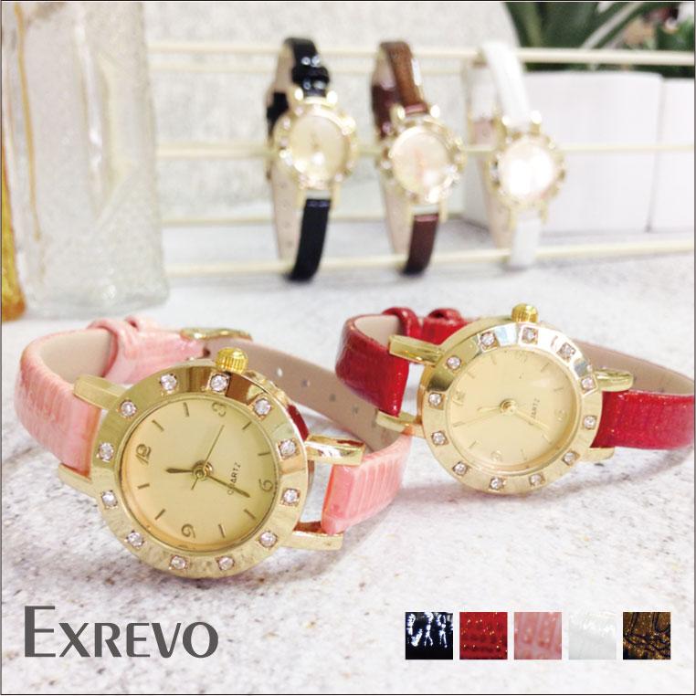 日本製クォーツ使用「革ベルト レディース 腕時計」